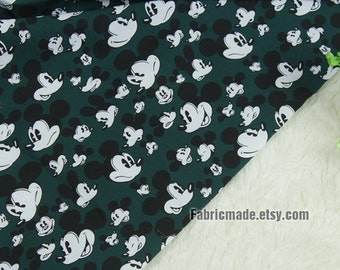 Disney Mickey Mouse Fabric, Cartoon Mickey On Dark Green Cotton For Clothing Bow Tie- 1/2 Yard