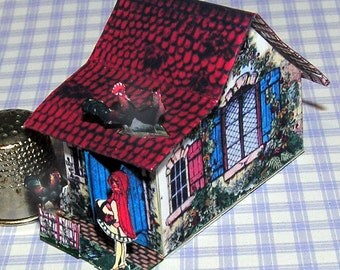 Little Red Riding Hood cottage, paper minis, DIY kit from paper in miniature for the Doll House, Doll House, dollhouse miniatures # 40066