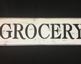 Grocery , wood primitive sign, farmers, kitchen, food. stores,, house signs, wall decor,