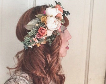 Rustic Flower Crown <<The Helena>> Bohemian Dried and Silk Crown // Custom Made Crown