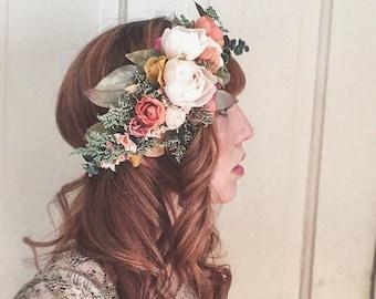 Rustic Flower Crown <<The Helena>> Bohemian Dried and Silk Crown // Custom Made Crown