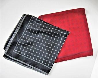 "2 Vintage Italian  silk pocket square handkerchiefs, Talbott, Ashear, Red and Black, Men's Accessory, 16"" x 16"", hand rolled hem, gift idea"