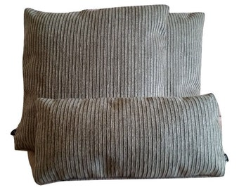 Three (3) Kid & Pet Friendly Holly Hunt Breakers Stripe in Chocolate Pillow Covers (B2)