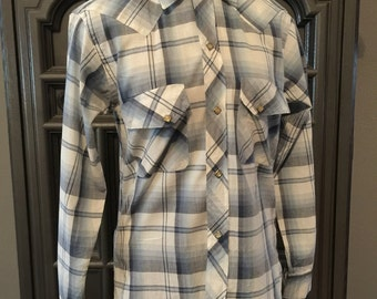 50s 60s Blue Plaid Western Pearl Snap Shirt