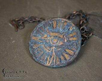 Copper Mystic Eye Medallion Amulet  Necklace Pendant