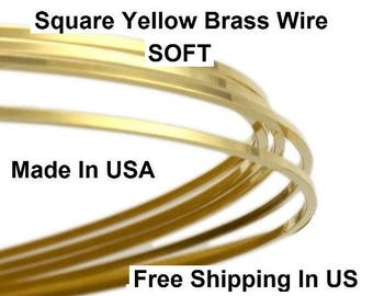 Square Brass Wire 14 ga (Dead Soft) Yellow brass #260 / Sold By the Feet