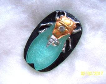Czech  Glass  Buttons  1 pc   Gorgeous XL scarab CICADA     40 mm       IVA 081