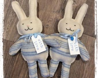 Blue Stripe Blankety Bunnies - Wool Rabbit made from vintage blanket