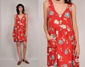 HUGE 10 dollar SALE Vintage Babydoll Floral Dress Overalls soft grunge