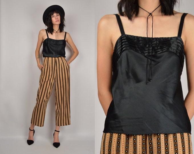 80's Black Satin Tank Top vintage camisole