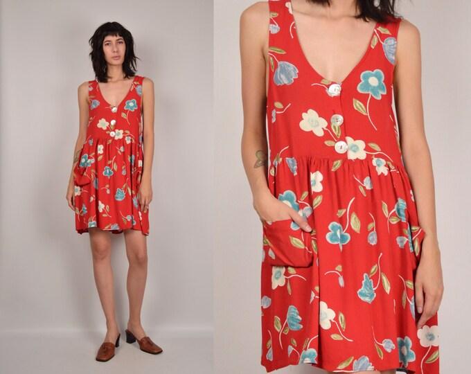 Vintage Babydoll Floral Dress Overalls soft grunge
