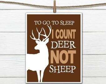 """Woodland Nursery Art -  8x10 Instant Download Deer Print """" I count Deer"""""""