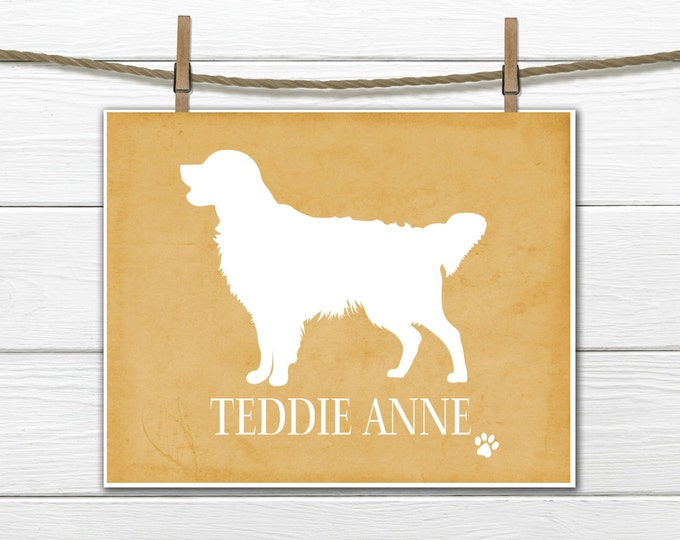 Golden Retriever Silhouette Print - Personalized with Dog's Name  -  Custom Colors and Sizes