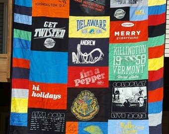 T Shirt Quilt DEPOSIT, made to order, custom quilt, graduation gift, birthday, fathers day, mothers day