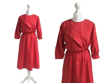 1980's Dress - Red Dress - Vintage Dress - 80's Dress - Asymmetric Neckline