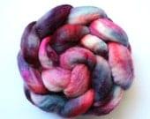 BFL - Strawberry Pie - Rasberry, violet, burgundy, flamingo, cornflower, lavender colors - spinning wool braid - 4 oz