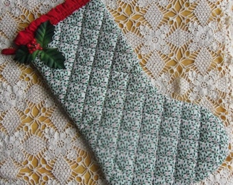 Vintage Christmas Stocking - Quilted Holly Christmas Stocking, Edged with Red Ruffle