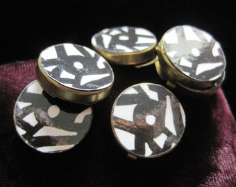 Button Cover Lot Covers Accessory Art Painting Black and White Abstract Round