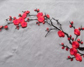 Red Cherry Blossom applique - iron on or sew on.