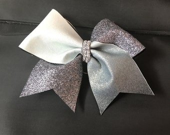 White and silver cheer bow key chain