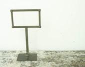 RESERVED pair of vintage 20's metal general store sign holder stand, advertising display