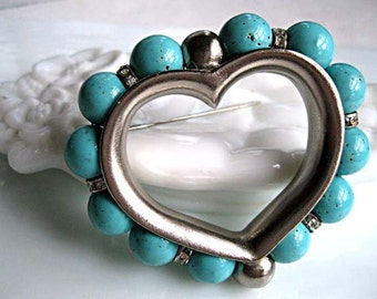 Blue Heart Brooch, Turquoise Glass Channeled Beads, Large Valentines Brooch, Rhinestone Rondelles, Silver Open Heart, Signed Ben Amun