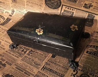 Antique Tin Toleware Stamp BOX Vintage Paw Footed Box Desk Item