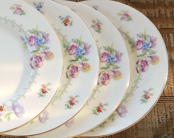 Romantic Minton Berkshire Salad or Dessert Plates Set of 4 Made in England Wedding China, Replacement China, Ca. 1944