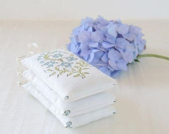 Modern Minimalist Lace Trimmed Lavender Sachets Set of 3, Organic Provence Lavender Cottage Chic Bridal  Wedding Favors