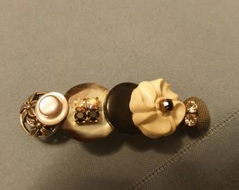 Black and White Vintage Button Barrette