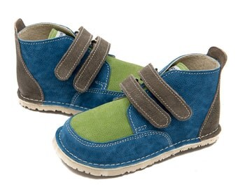 Colorful leather shoes, leather lining, Vibram sole, velcro fastening, support barefoot walking, sizes EU 21 to 31 - US 6 to 12.5