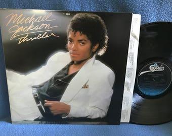 "Vintage, Michael Jackson ""Thriller"" Vinyl LP, Record Album, Original 1982 Press, Beat It, Billie Jean, Human Nature, P.Y.T. Paul McCartney"