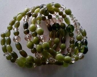Shades of Spring 5 strand memory wire bracelet