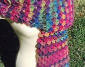 Crochet Dragon Scarf - Crocodile Stitch Scarf - Scarf to Match Dragon Gloves