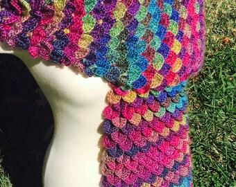 Crochet Dragon Scarf - Crocodile Stitch Scarf - Scarf to Match Dragon Gloves