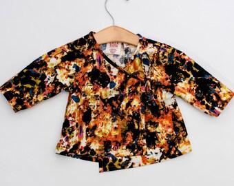 Infant Wrap Top - Baby Kimono Top - Orange Baby Top