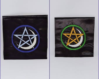 "Pentacle with Moon Altar Cloth 27"" x 27""  wiccan celtic wicca pagan RTS ritual ready to ship spellcraft witchcraft RTS Black Handmade shrine"
