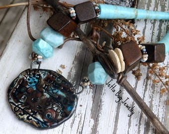 Graffitti- rustic chunky necklace. artisan beads. teal. dark brown. faceted gemstones. wood. rushtic grunge boho jewelry. jettabugjewelry