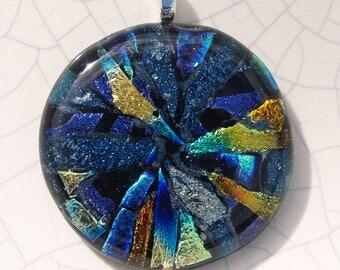 Blue mosaic dichroic glass pendant