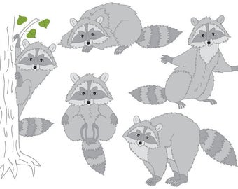 70% OFF SALE Raccoon Clipart - Digital Vector Woodland, Forest, Animals, Raccoons, Raccoon Clip Art