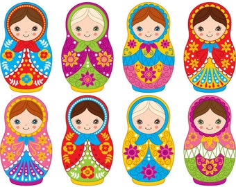 70% OFF SALE Matryoshka Clipart - Digital Vector Matryoshka, Doll, Russian, Nesting, Matrioshka Clip Art For Personal And Commercial
