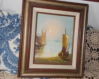 Dixion Painting of Sailboats on Water,Vintage Paintings,Boat Paintings, Boat,Sail Boat