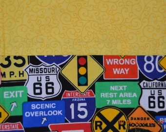 Traffic Signs Pillowcase with a Yellow Header