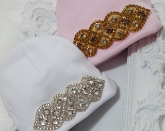 Tiny Newborn Hospital Hat Cotton Beanie Hat Newborn Baby Girl Hospital Hat with Rhinestone