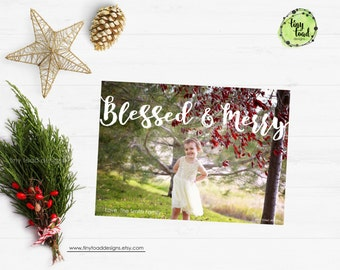 Blessed & Merry Holiday Cards, Christmas Cards, DIY Printable, digital file (item 1535)