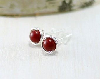 Red Coral Earrings, Sterling Silver Red Coral Stud Earrings Wire Wrapped Post Earrings Coral Jewelry