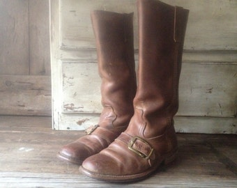 Mens Rustic Brown Leather Biker Boots BF Goodrich Size 8,5  9 US Mens 1960s 70s