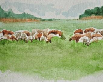 Original ACEO art card ooak watercolor sheep grazing in pasture