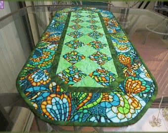 Quilted Table Runner Quilt Art Glass Olive Quilt 614