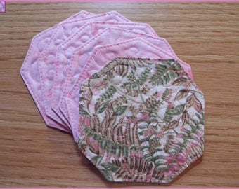 Quilted Coasters Ferns Pink and Green 145